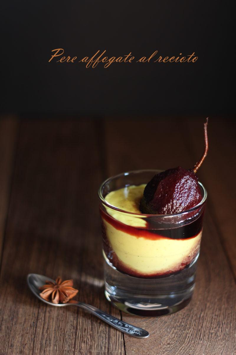 Pere affogate al recioto e crema alla vaniglia
