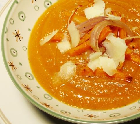 crema di carote con verdure croccanti