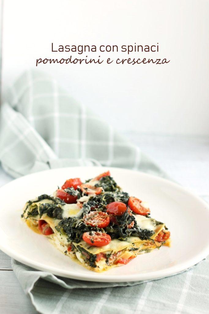 Lasagna con spinaci pomodorini e crescenza